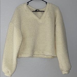 Fluffy Sherpa long sleeve pullover top